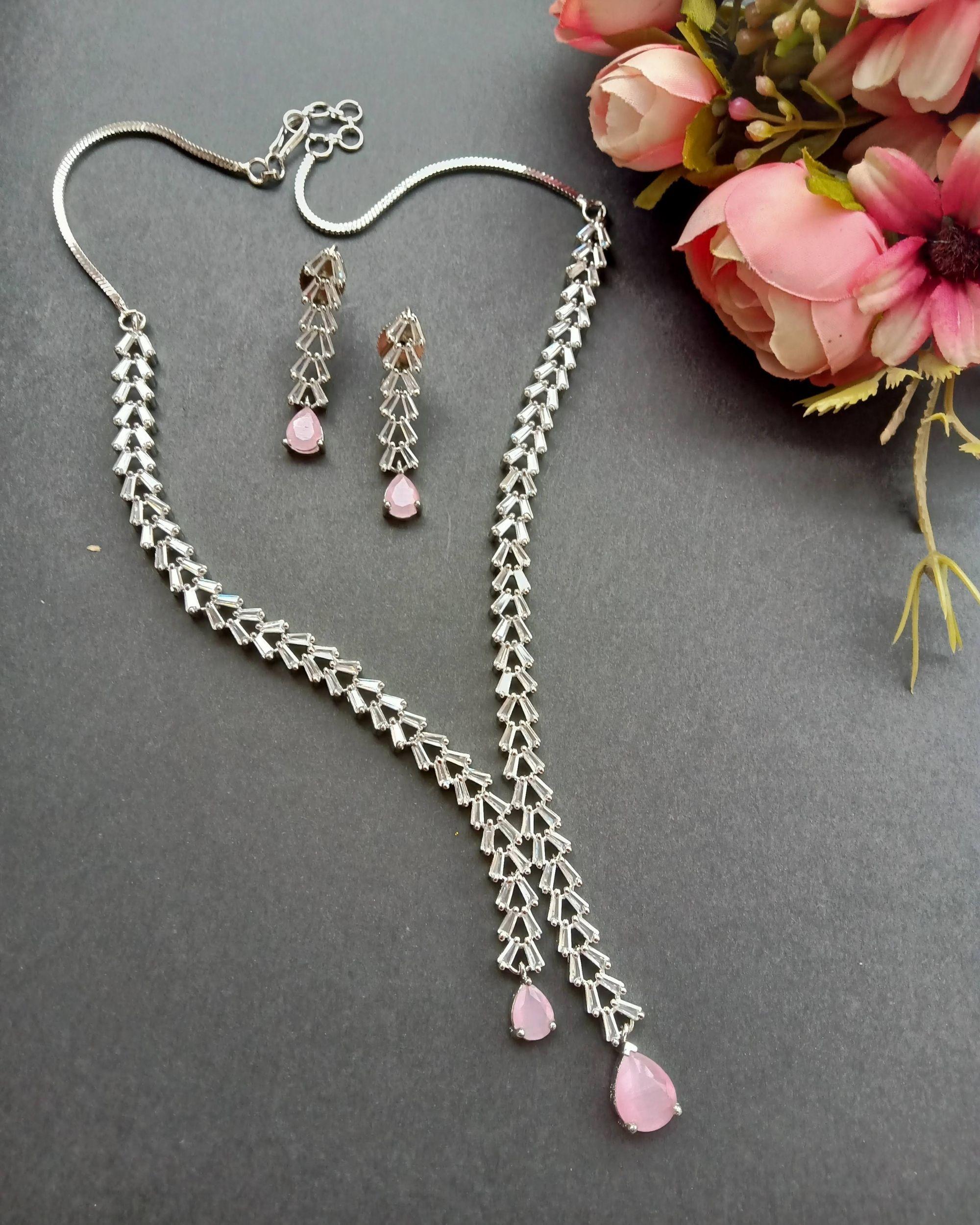Pink quartz drop neckpiece with earrings - set of two
