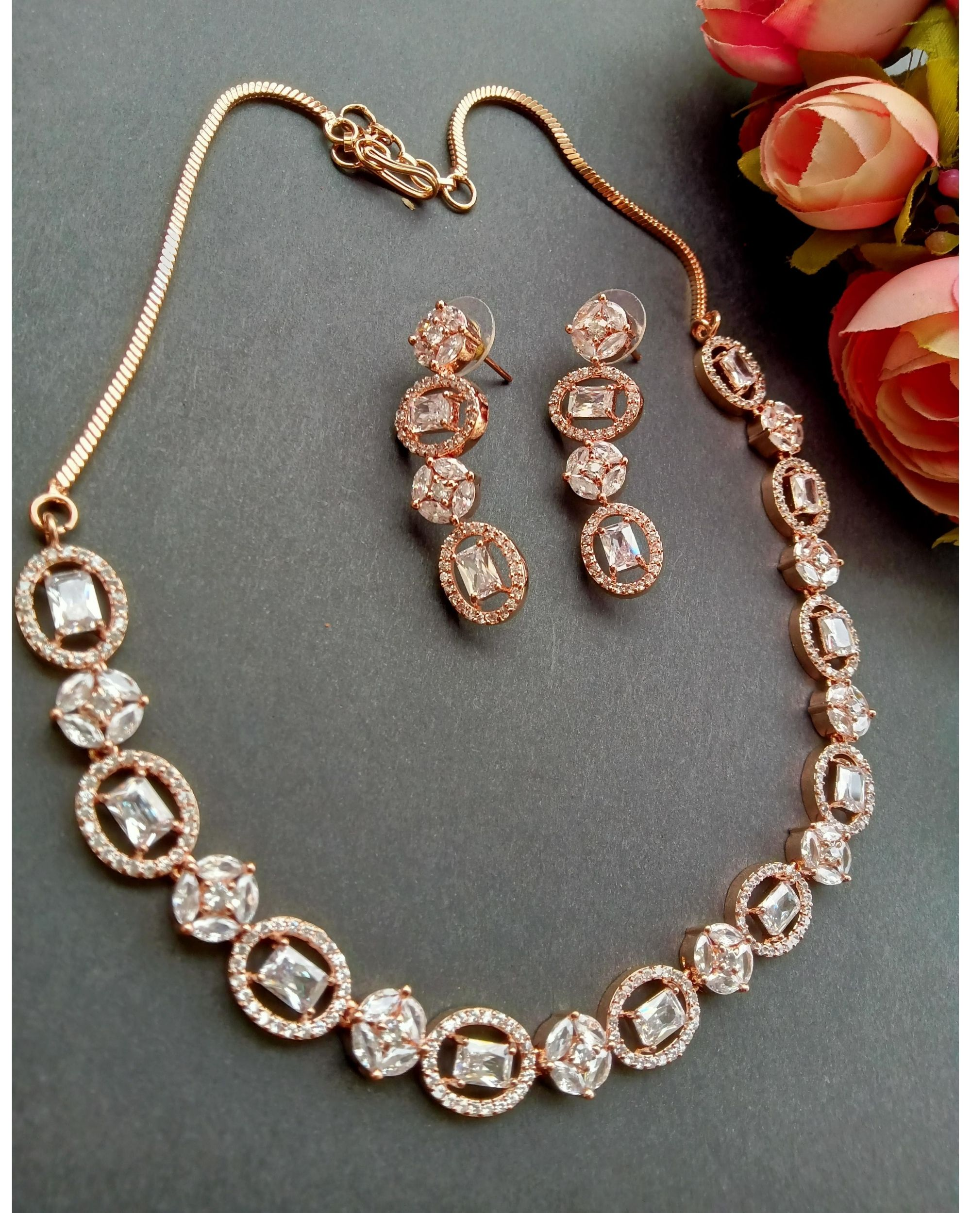 Rose pink oval stone neckpiece with earrings - set of two