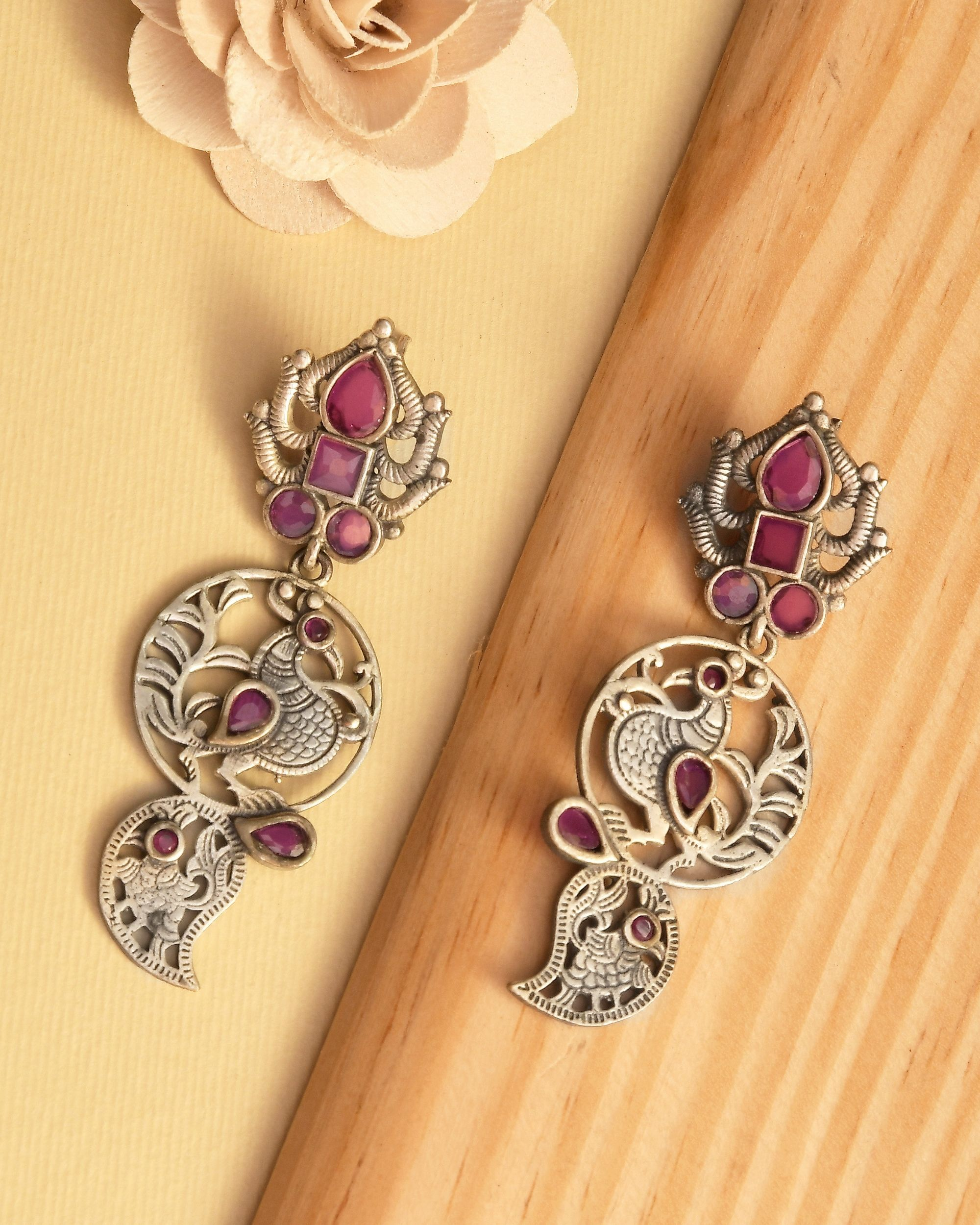 Pink studded floral engraved earrings
