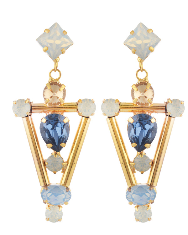 Blue Chandelier Swarovski Earrings
