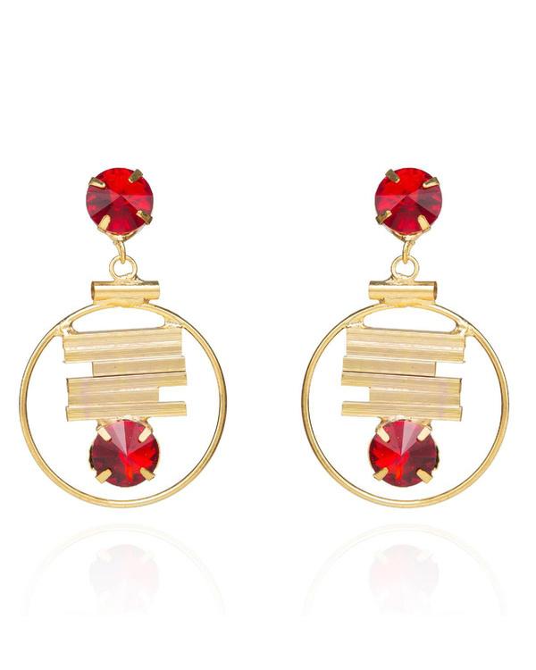 D'Art Elegant Red Chandbali Hoop Earrings