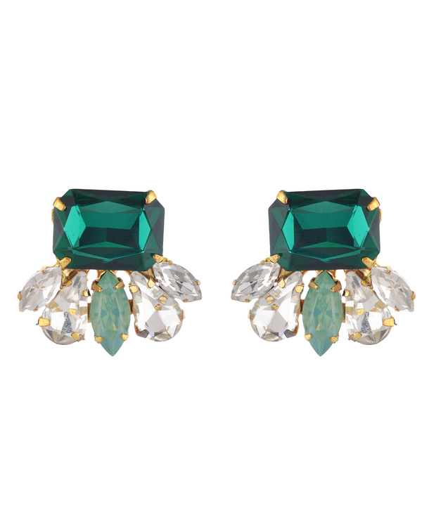 Emerald Green Swarovski Stud Earrings