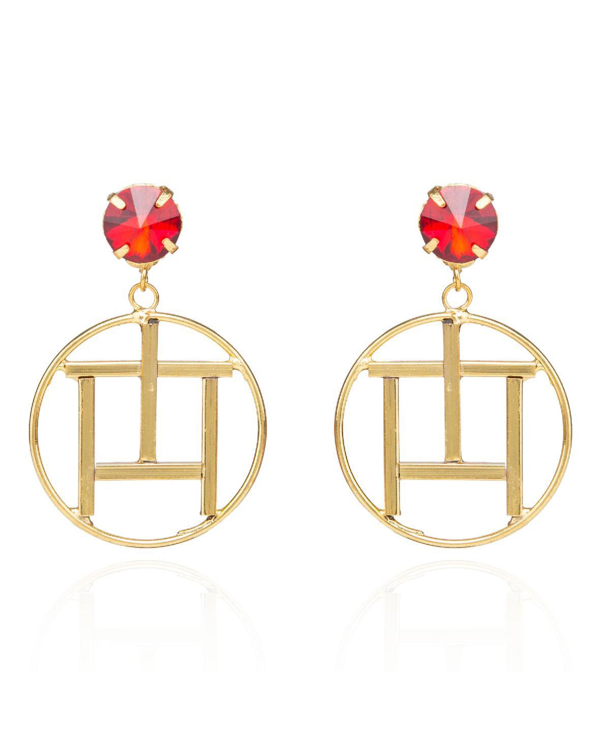 Geometrical Muse Swarovski Hoop Earrings