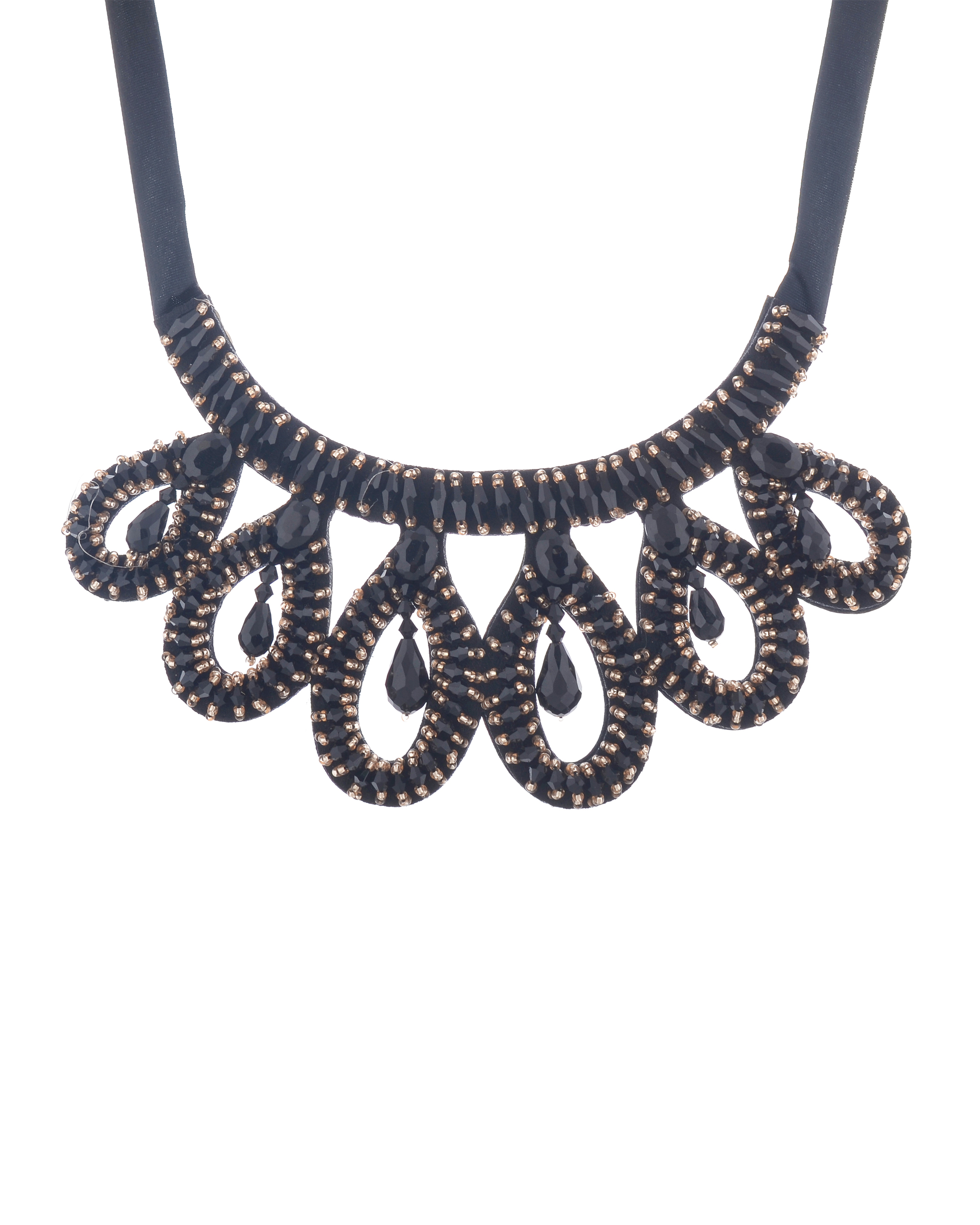 Black Tie Around Choker Neckpiece