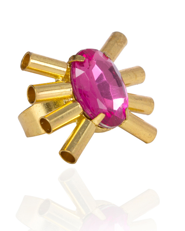Pink Sparkly Spike Designer Ring