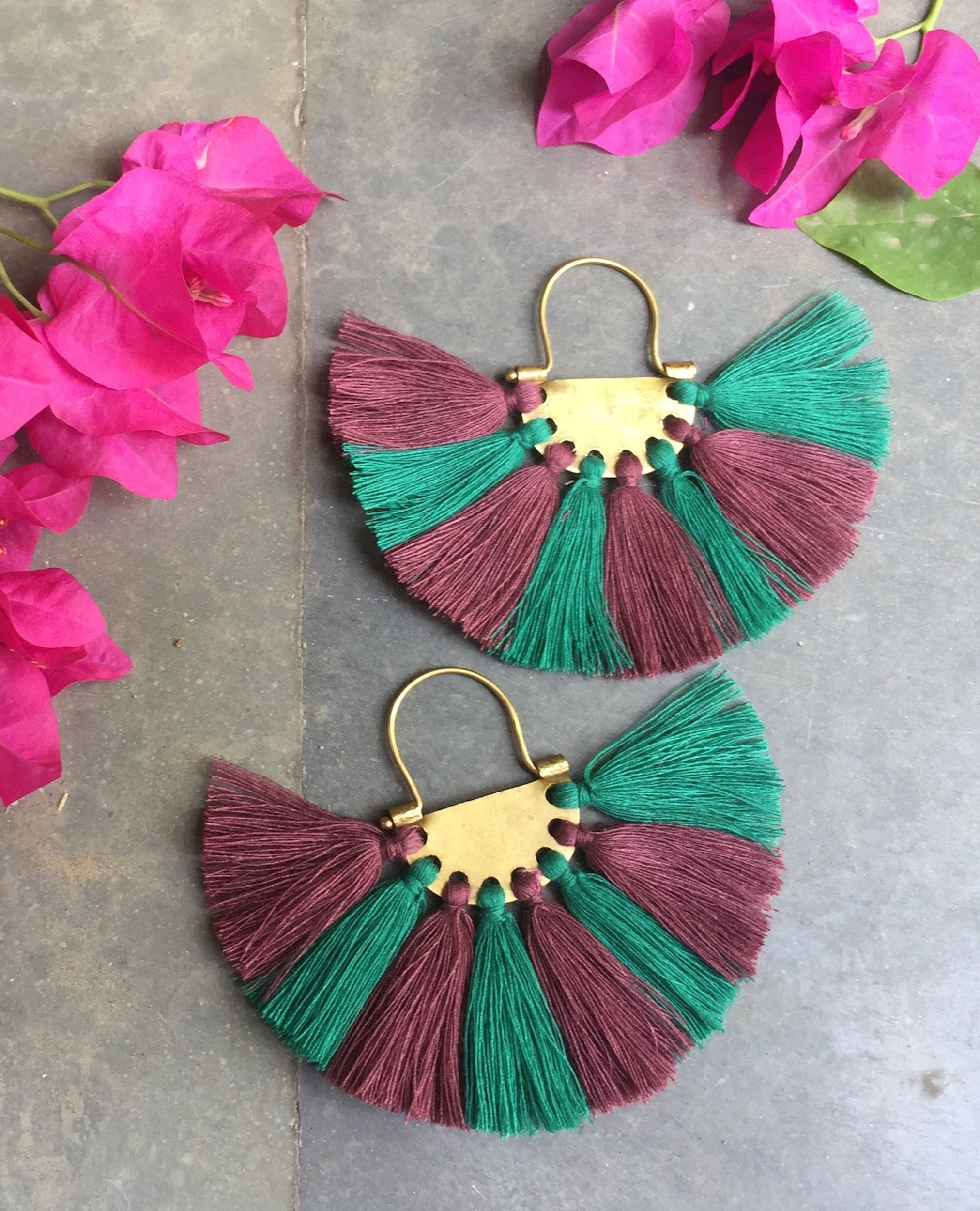 Sea Green Plum Tassel Earrings