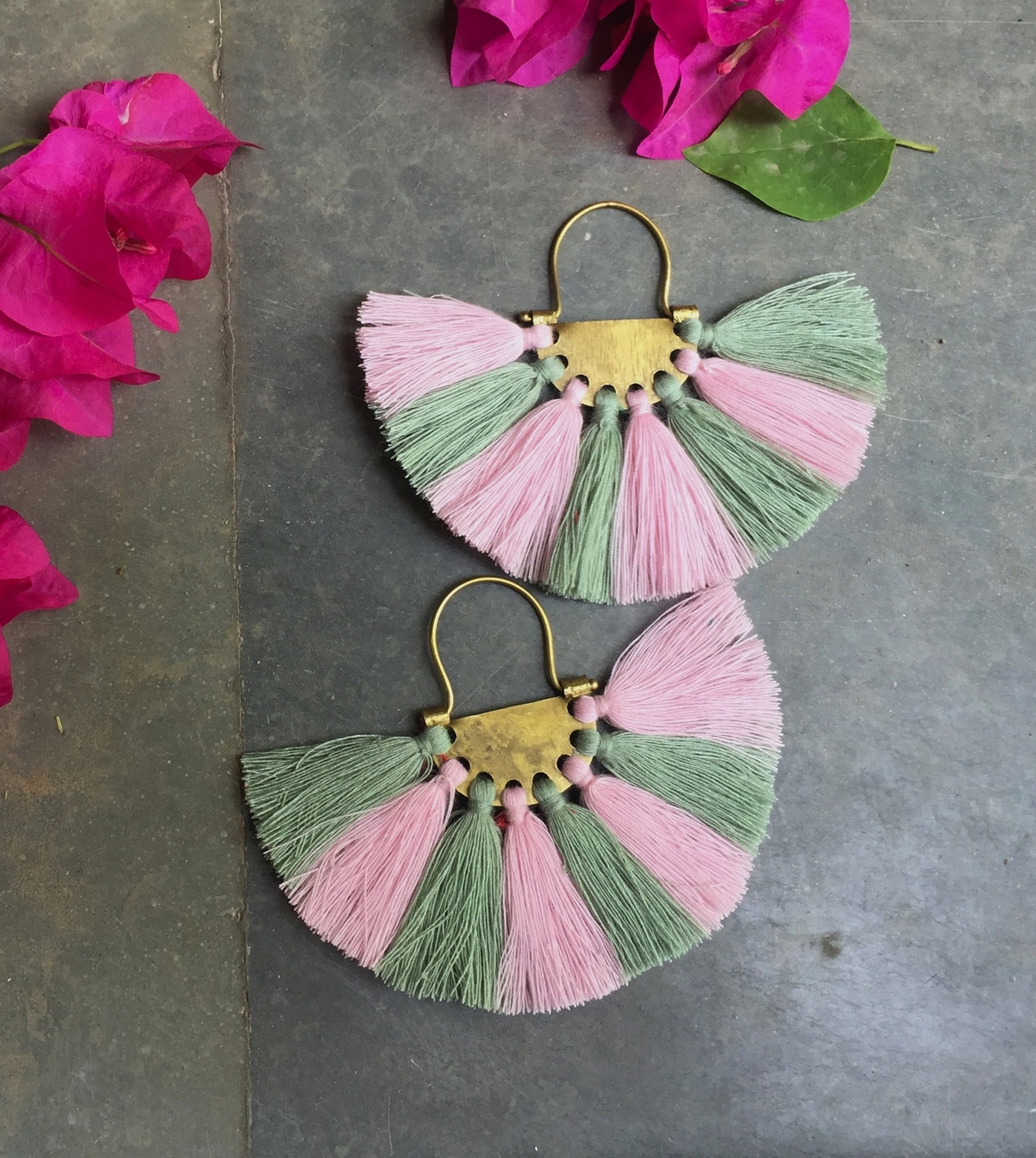 Flamingo Olive Tassel Earrings