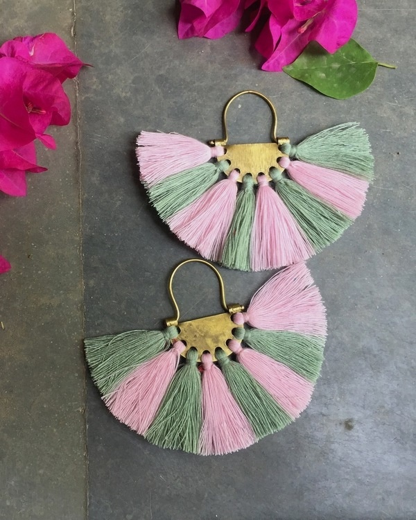 Flamingo Olive Tassel Earrings