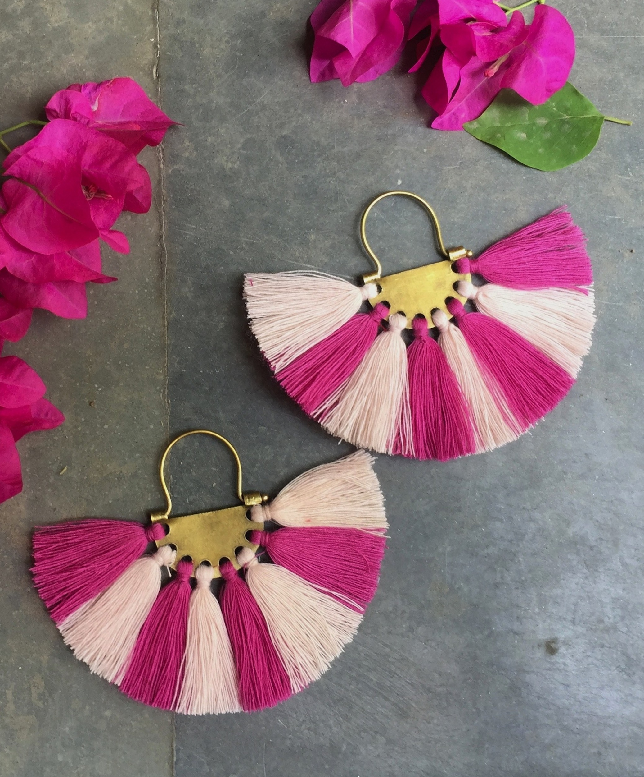 Coral Hot Pink Tassel Earrings