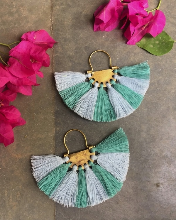 Lavender Turquoise Tassel Earrings