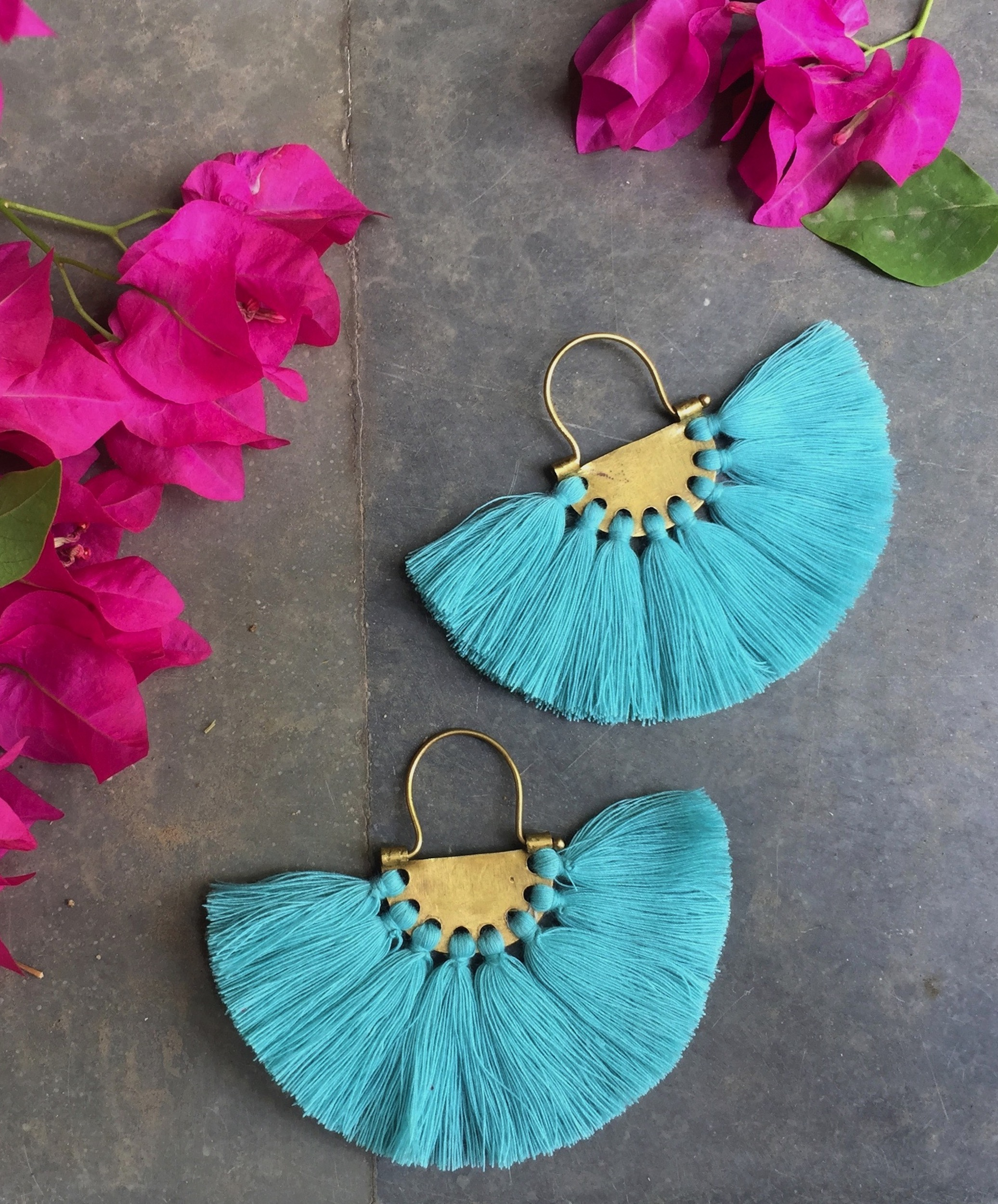 Seafoam Turquoise Tassel Earrings