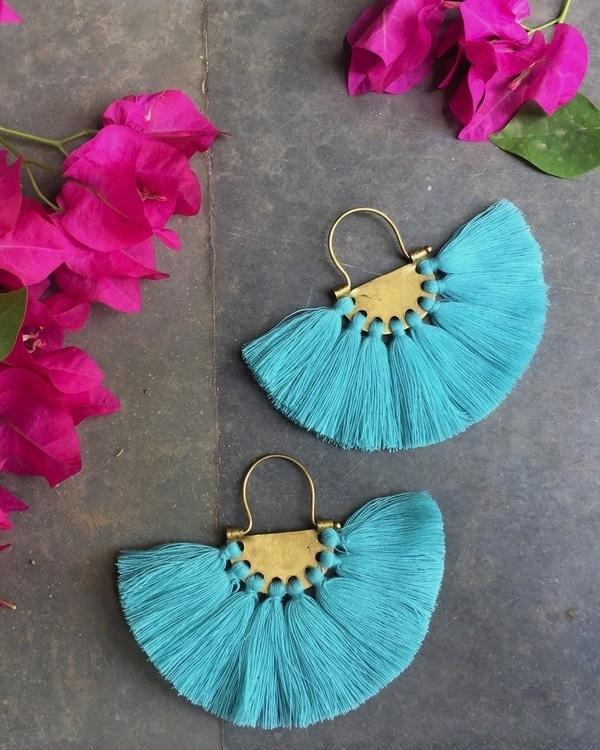 Seafoam Turquoise Tassel Earrings
