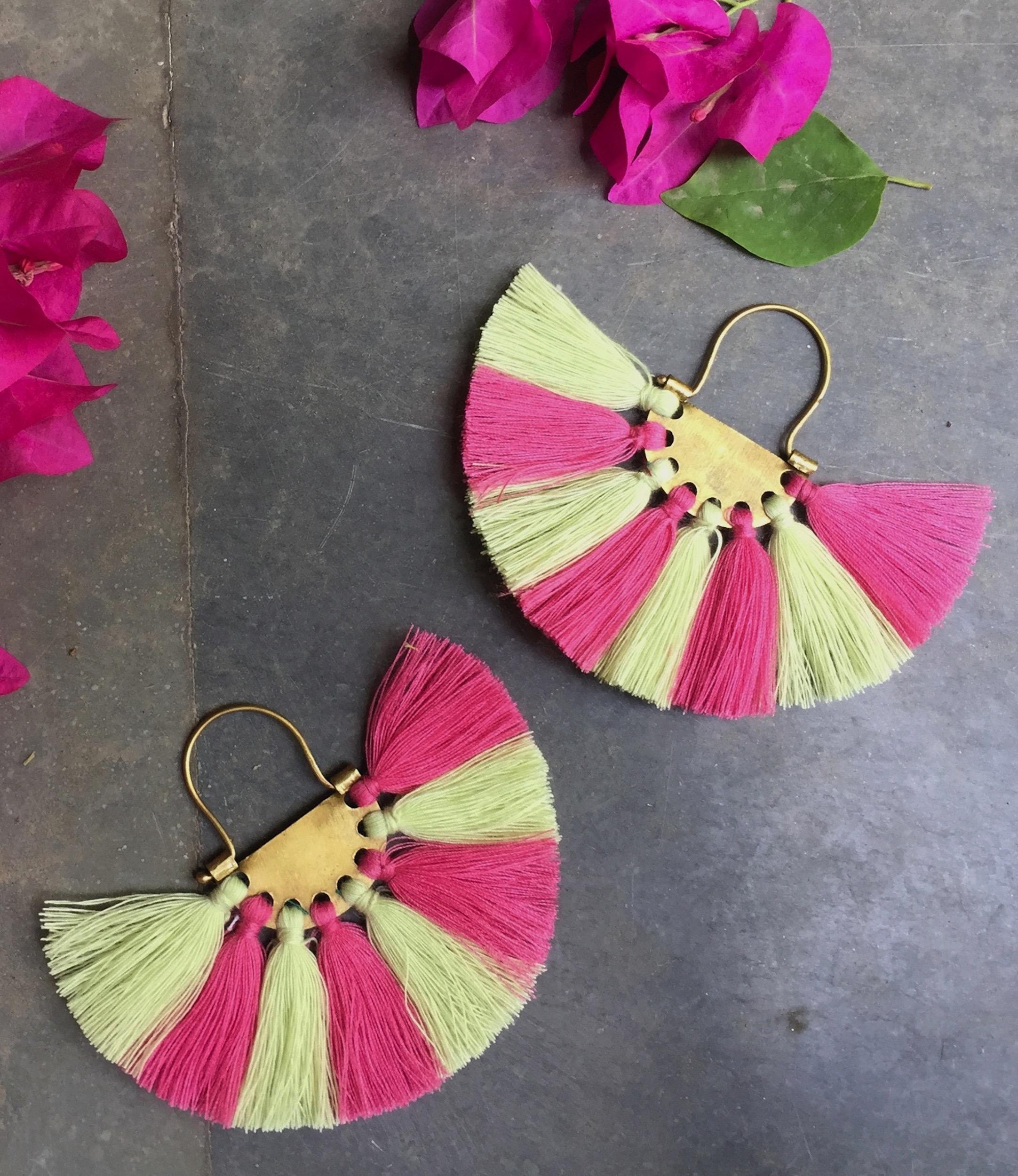 Beige Pink Tassel Earrings