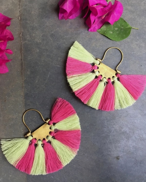 Beige Pink Tassel Earrings