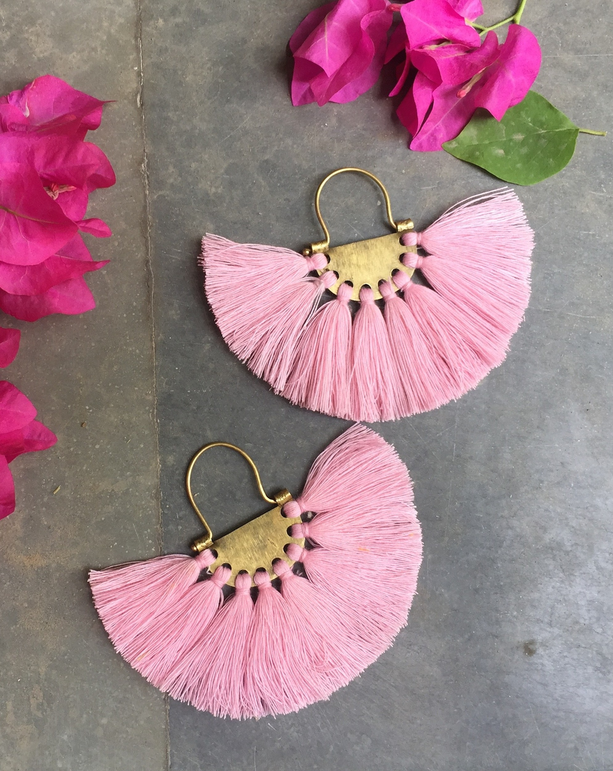 Crepe Pink Tassel Earrings