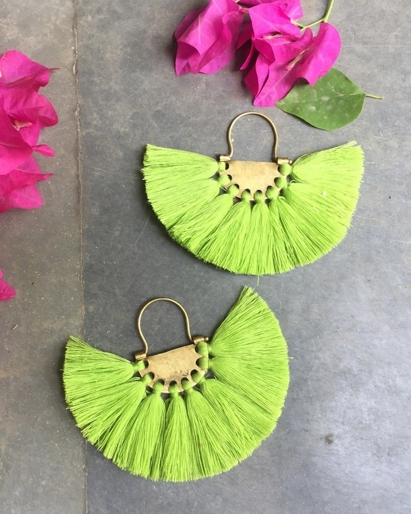 Neon Pistachio Tassel Earrings