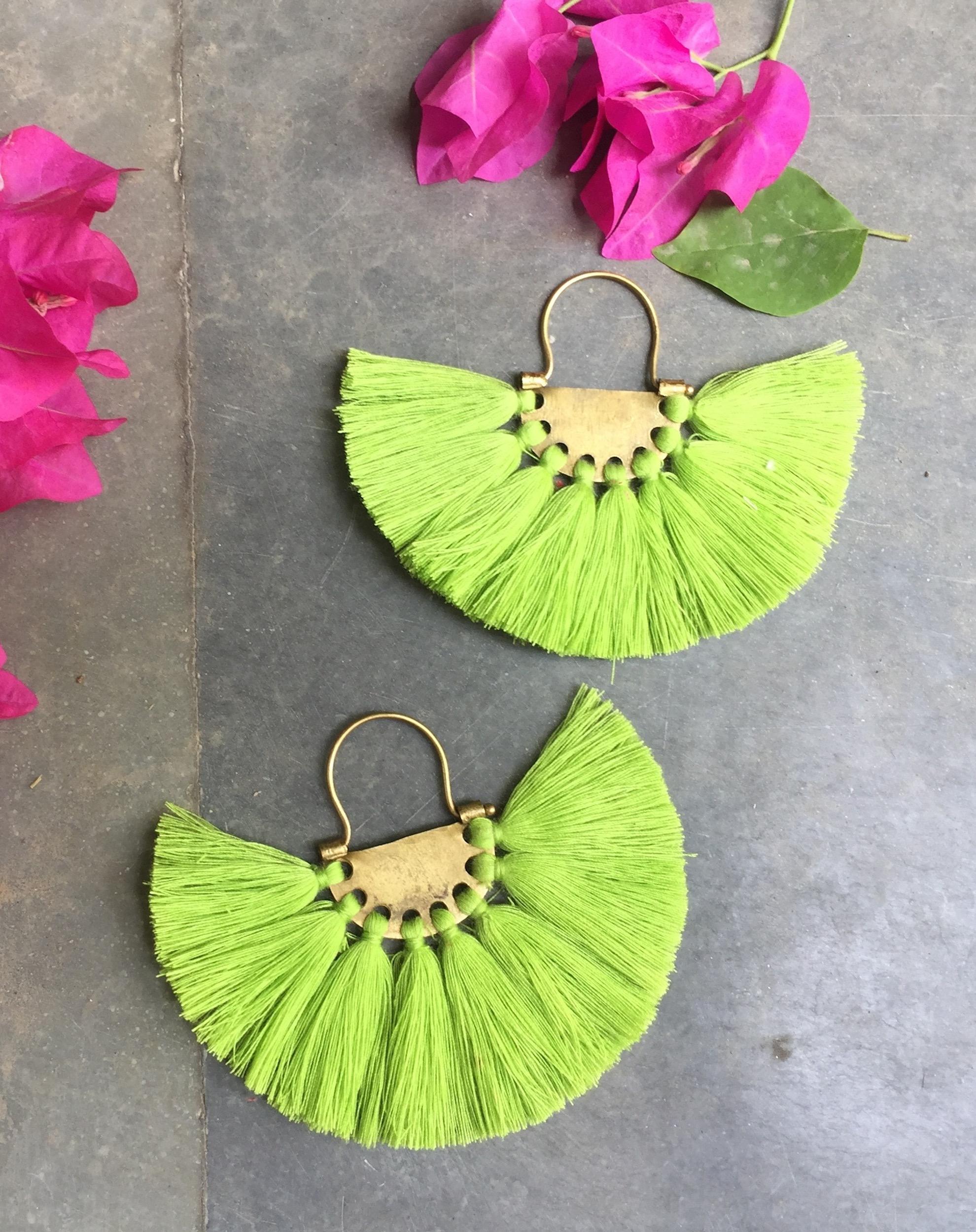 Neon Pistachio Tassel Earrings