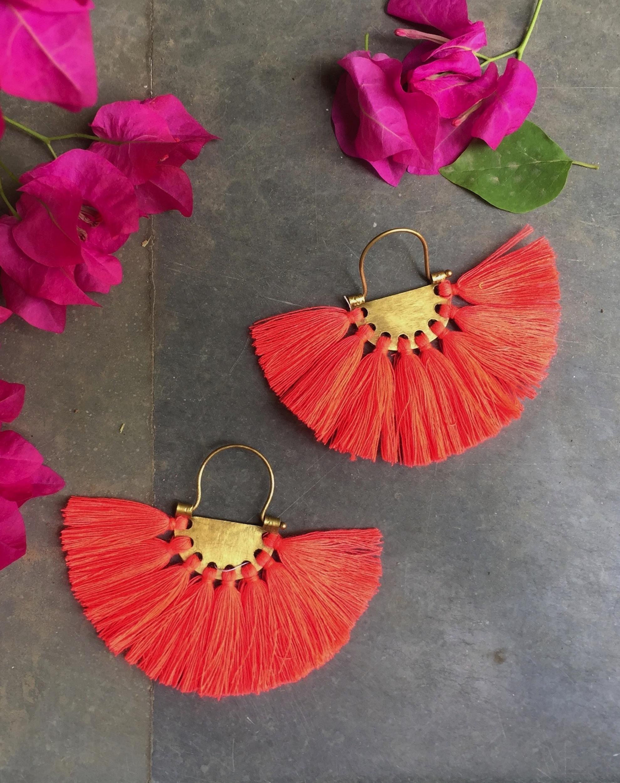 Tangerine Red Tassel Earrings