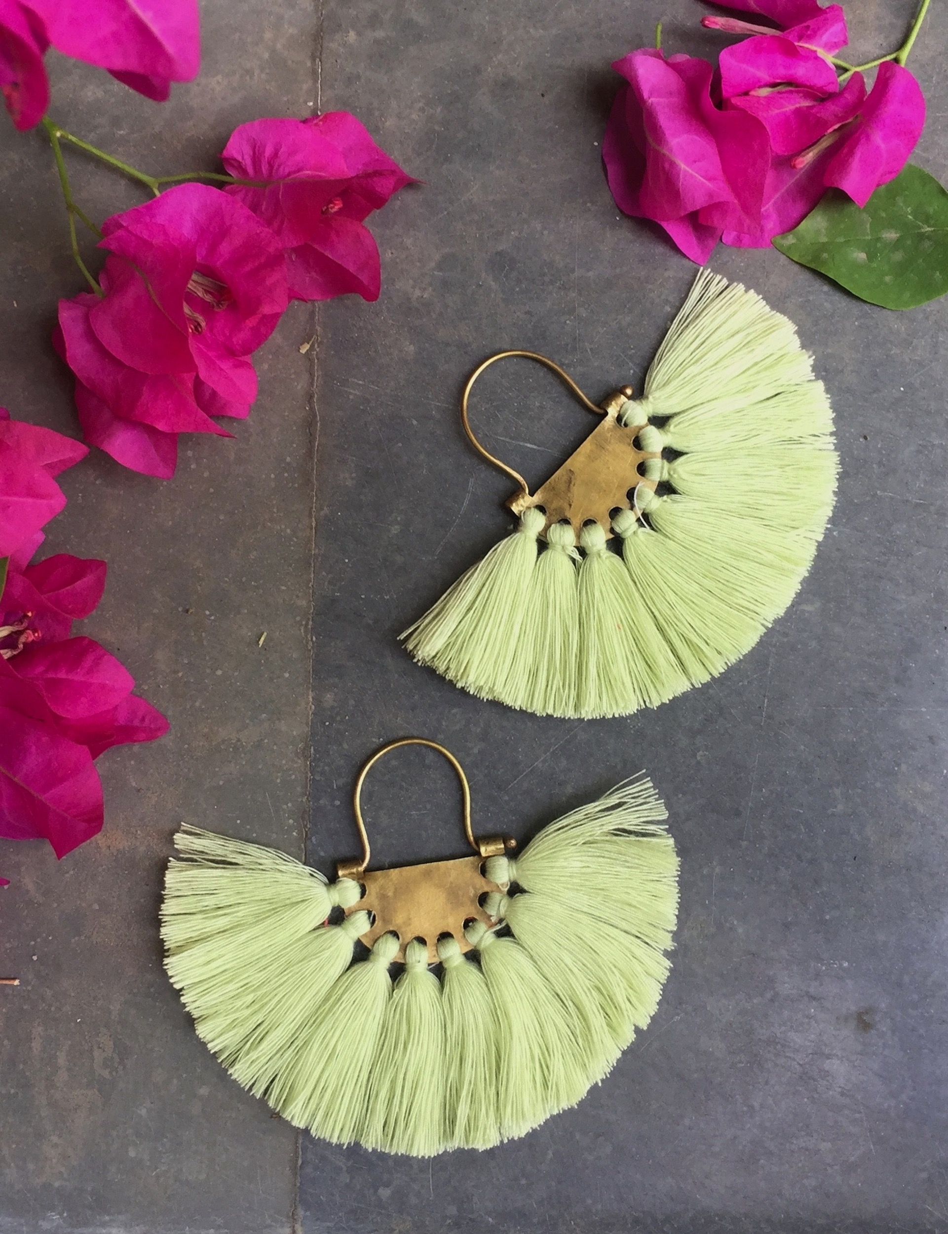 Blonde Yellow Tassel Earrings