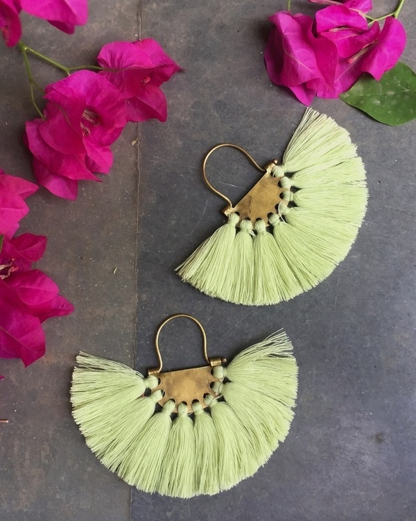 Blonde Yellow Tassel Earrings