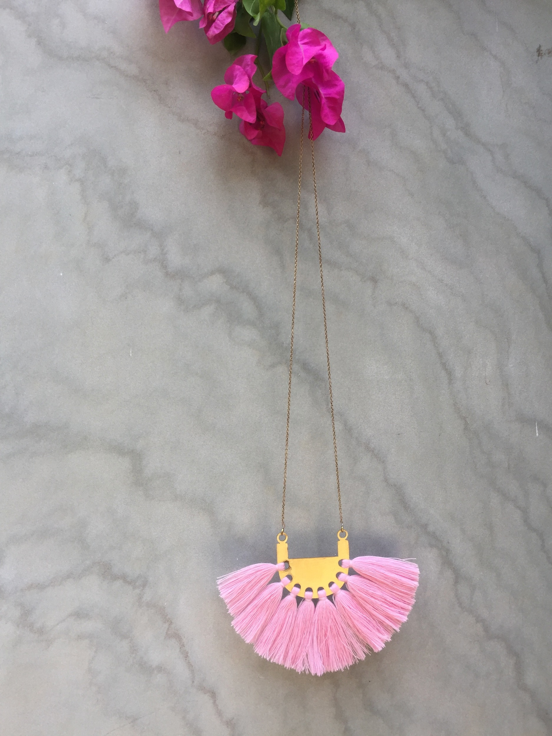 Crepe Pink Tassel Neckpiece