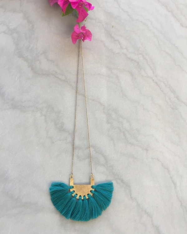 Peacock Green Tassel Neckpiece