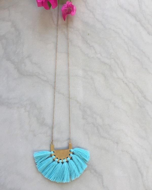Electric Turquoise Tassel Neckpiece