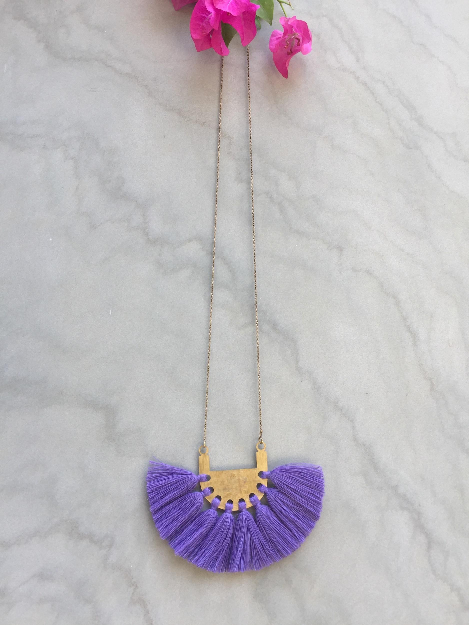 Lavender Blue Tassel Neckpiece