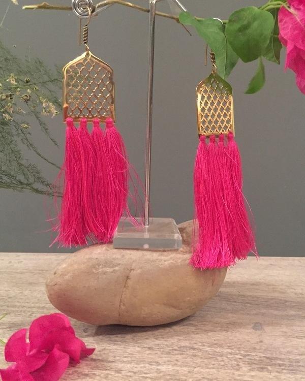 Strawberry Mughal Jaal Tassel Earrings