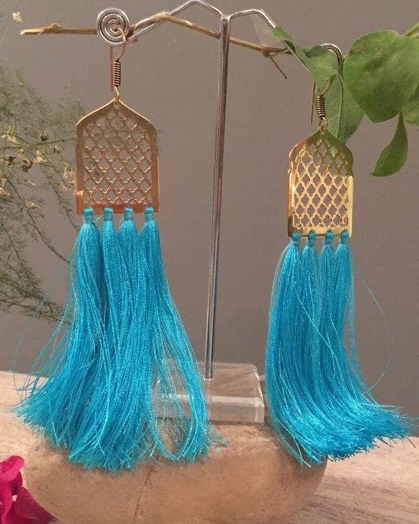 Blue Mughal Jaal Tassel Earrings