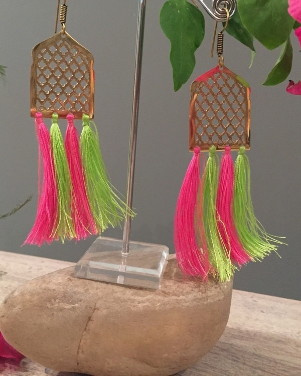 Multi Mughal Jaal Tassel Earrings