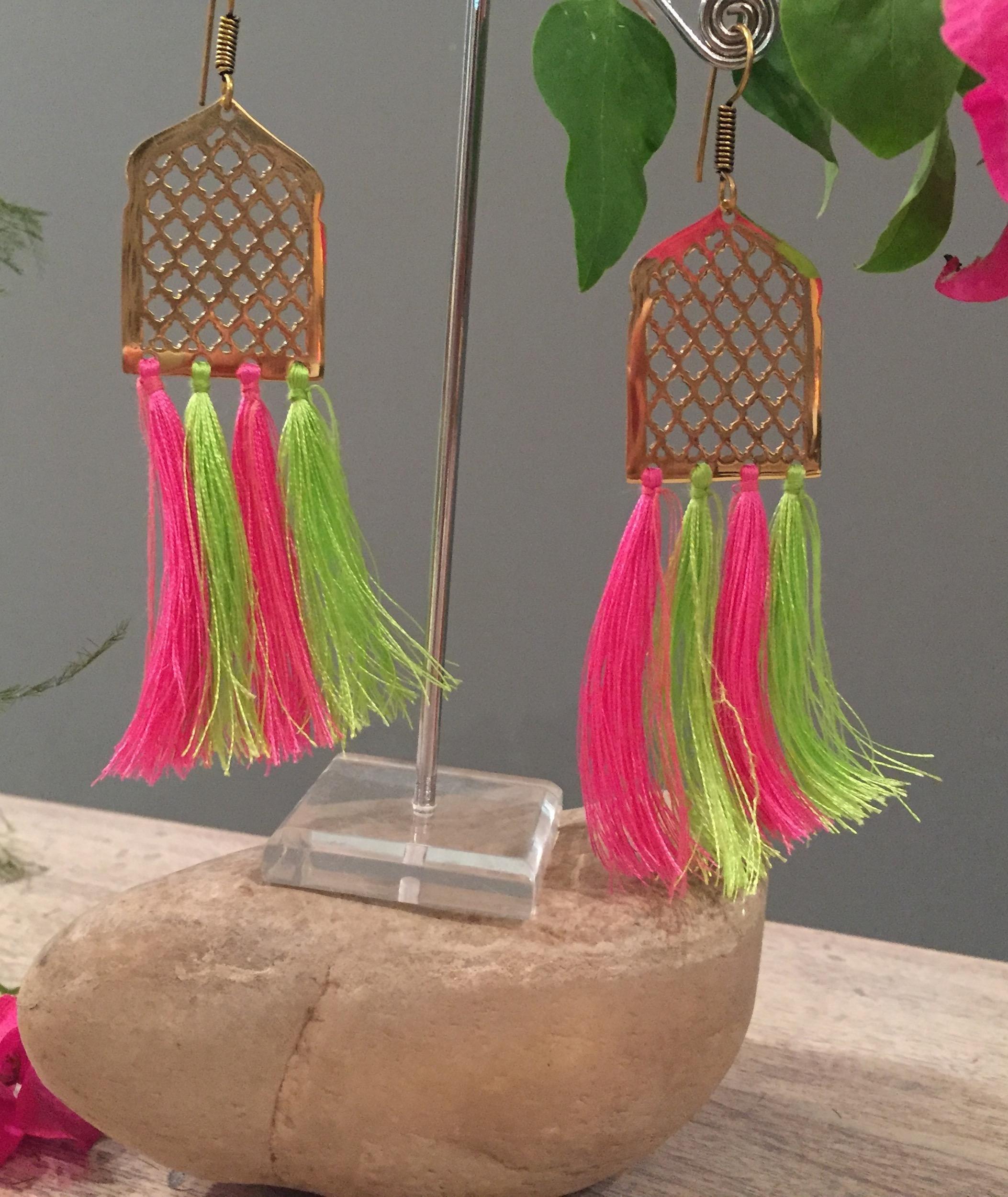 Multi Mughal Jaal Tassel Earrings
