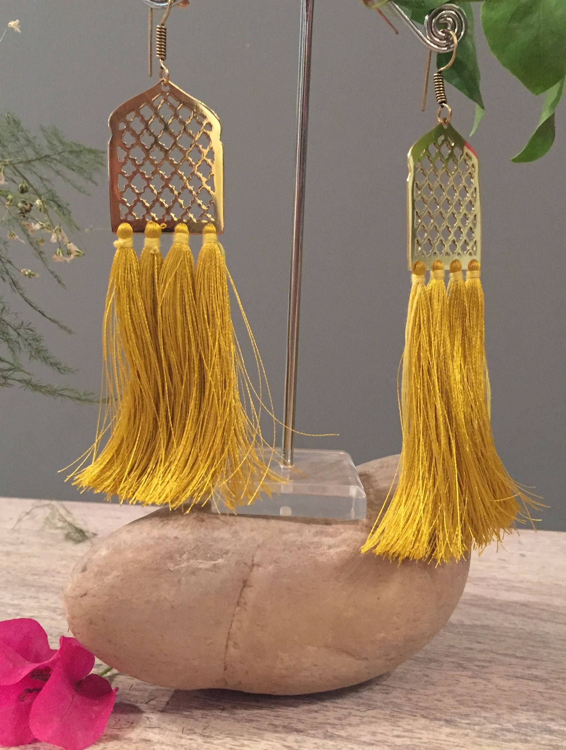 Mustard Yellow Mughal Jaal Tassel Earrings