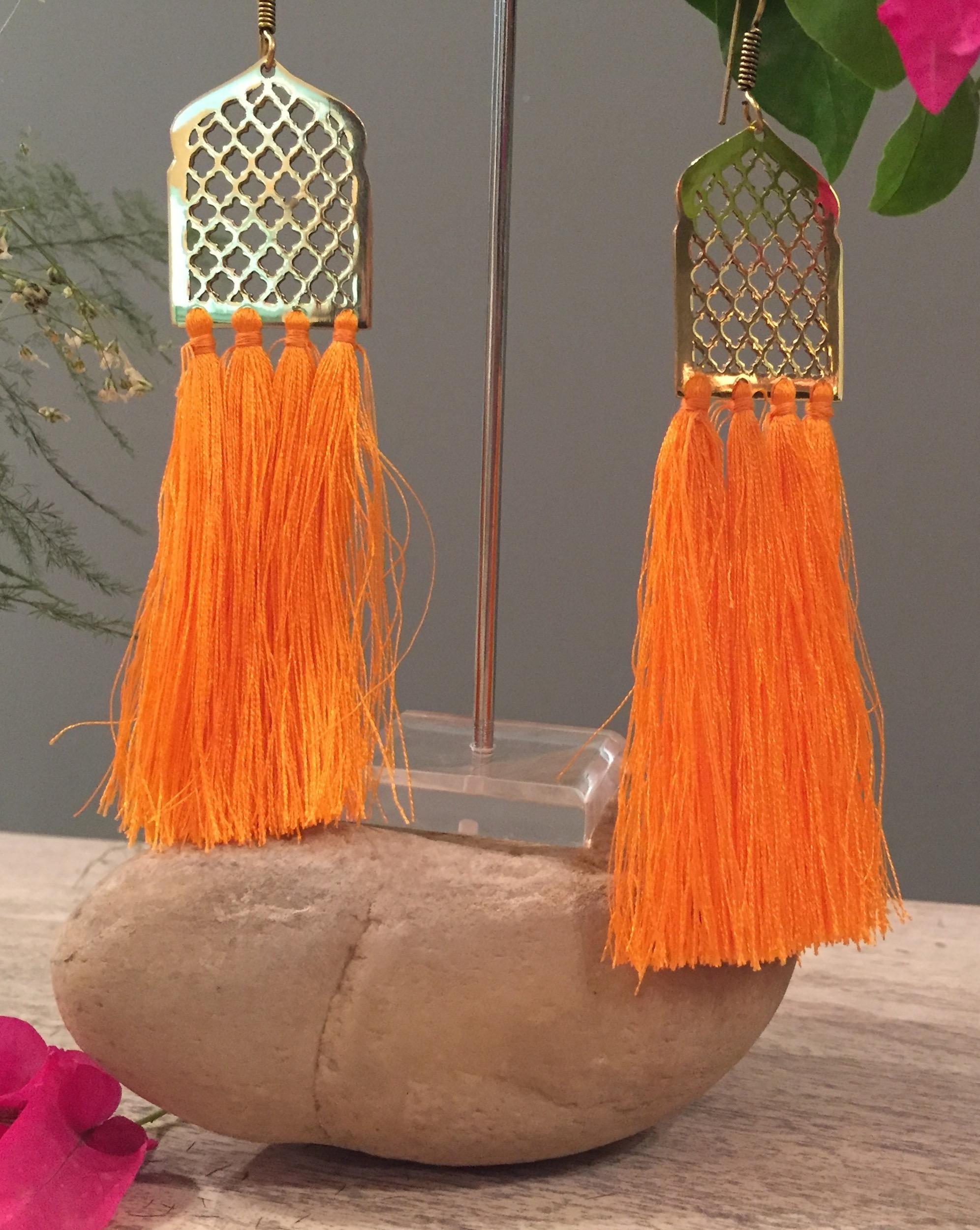 Orange Mughal Jaal Tassel Earrings