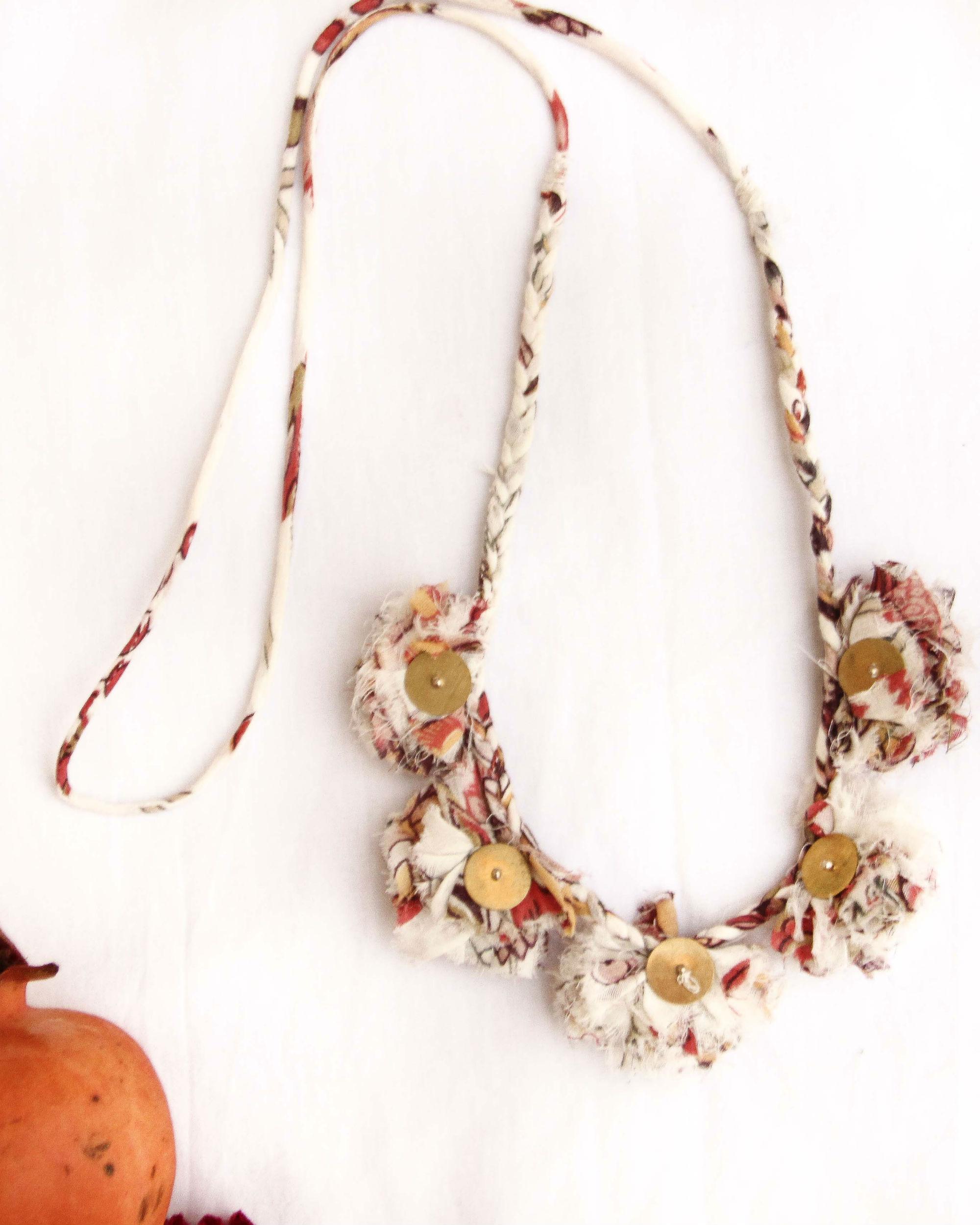 Floral Dhalia Metal Coin Tasseled Neckpiece