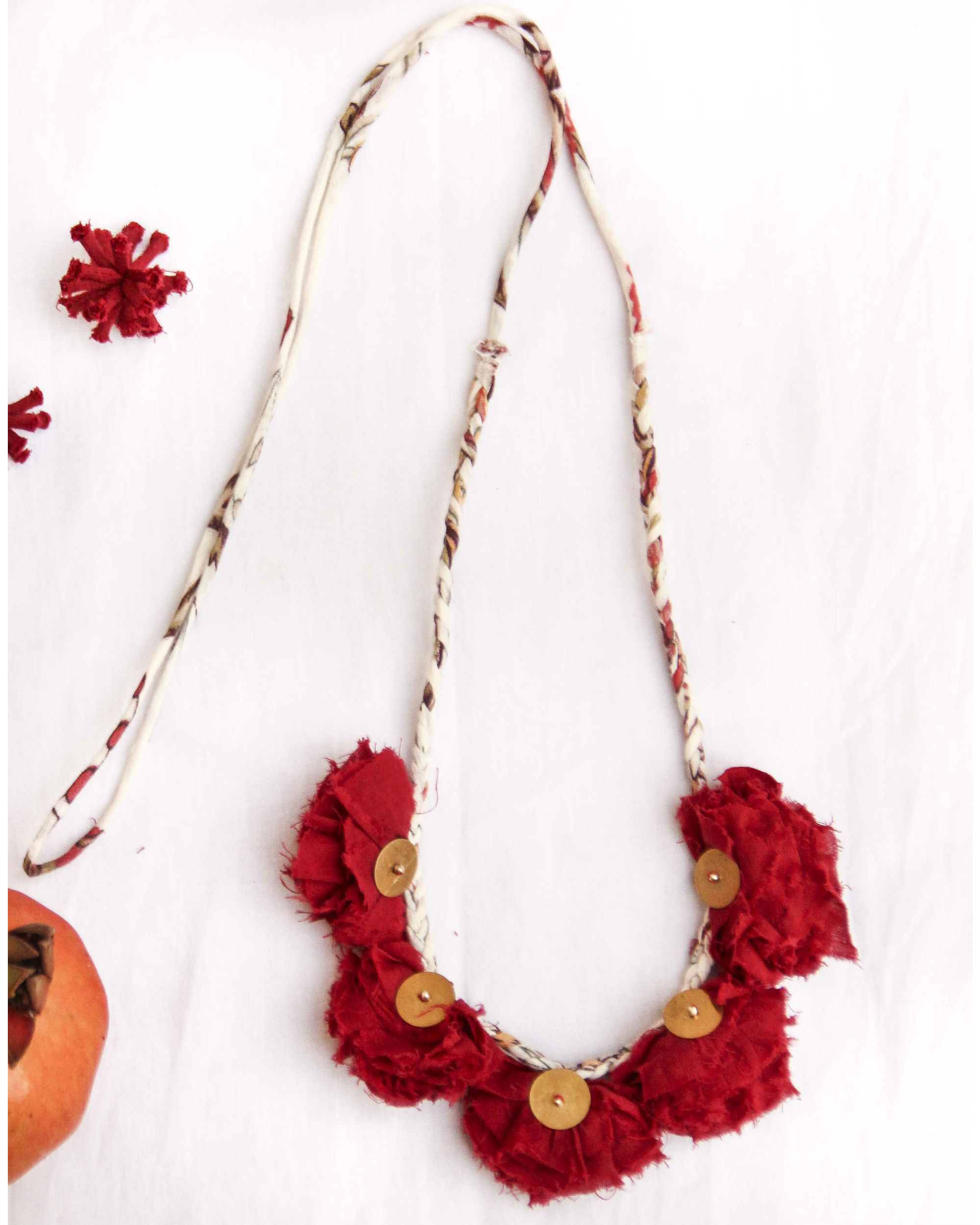 Currant Red Metal Work Tasseled Neckpiece