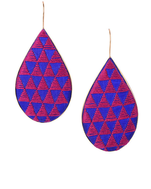 Blue and Rani Pink Cotton Thread Gold Plated Earrings