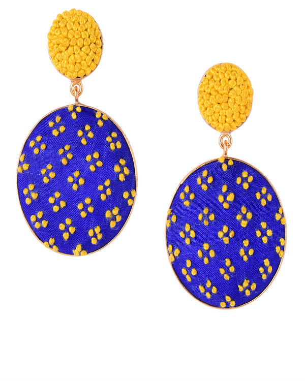 Blue and Yellow Push Back Gold Plated Earrings