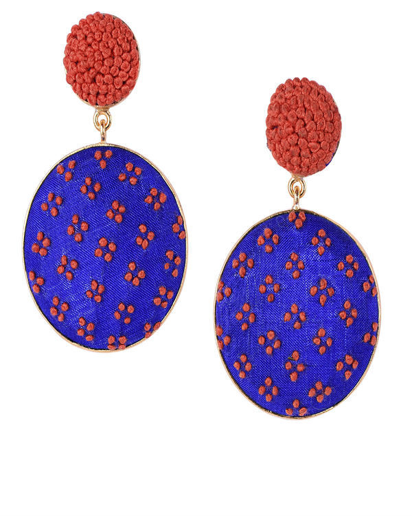 Blue and Orange Push Back Gold Plated Earrings
