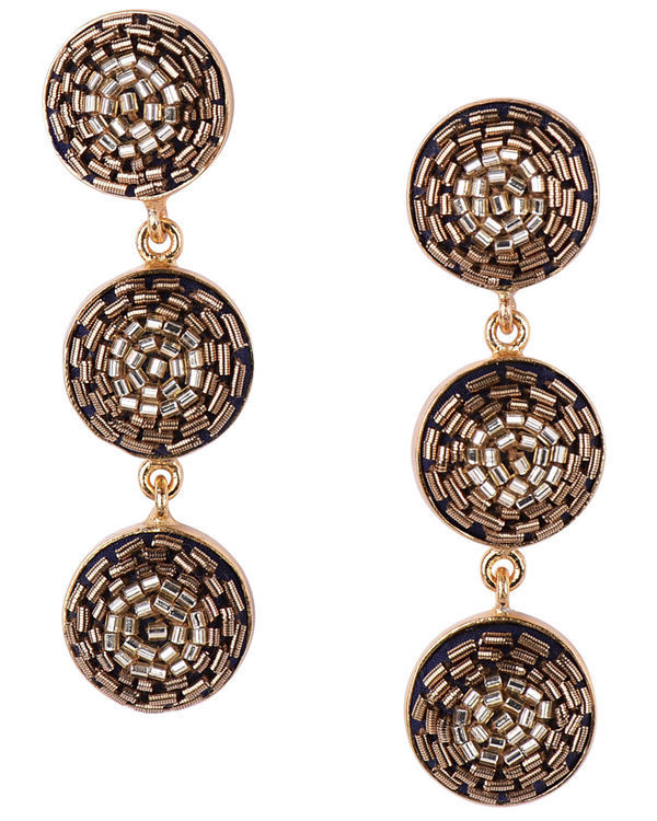 Gold Glass Beads embossed Push Back Earrings