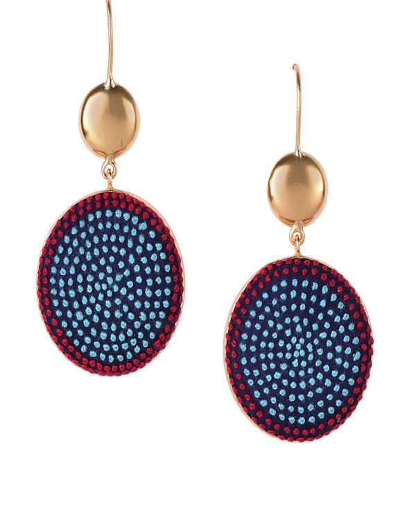 Aqua and Red Cotton Thread Gold Plated Earrings