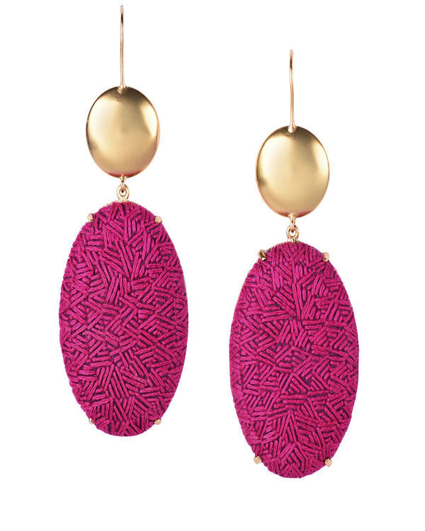 Rani Pink and Gold Oval Gold Plated Earrings