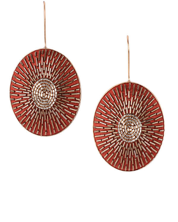 Orange and Gold Round Gold Plated Earrings