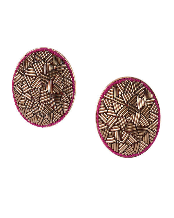 Gold Metal Wire embossed Gold Plated Earrings