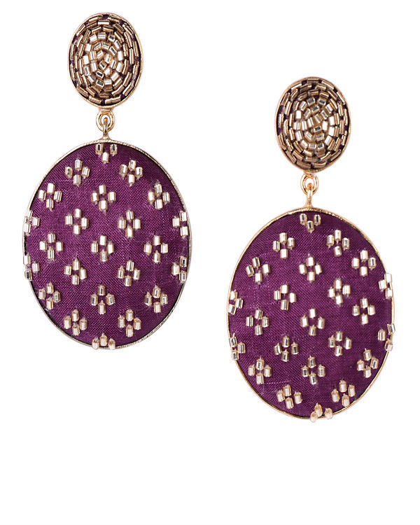Wine and Gold Push Back Gold Plated Earrings
