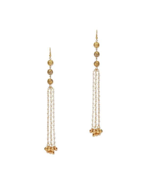 Tuhina Gold Pearl Tassel Earrings
