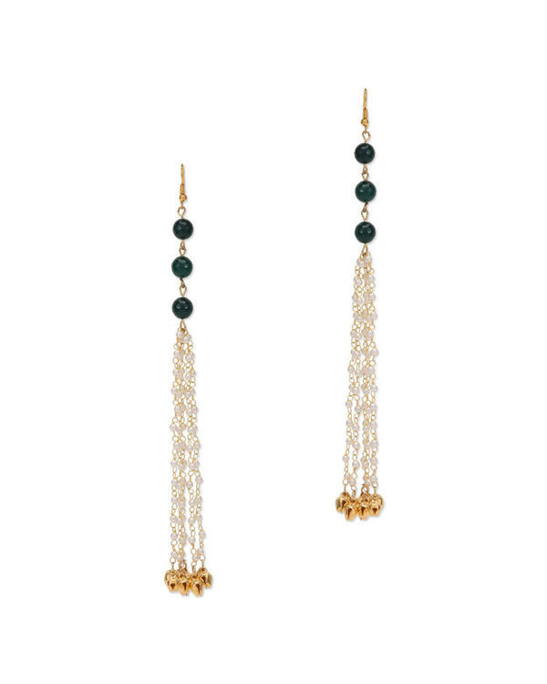 Urvi Green Pearl Tassel Earrings