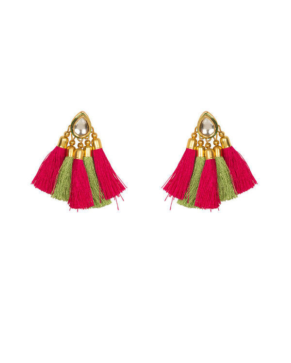 Pink and Green Tassel Studs