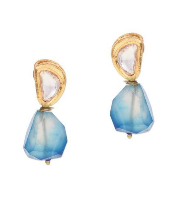 Hehan Kundan Blue Agate Studs