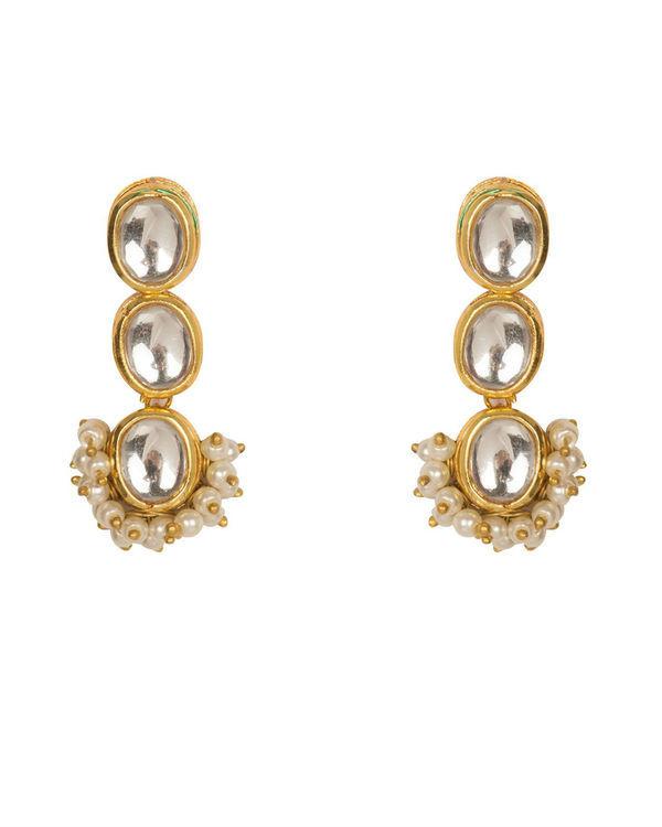 Kishika Pearl Cluster Kundan Earrings